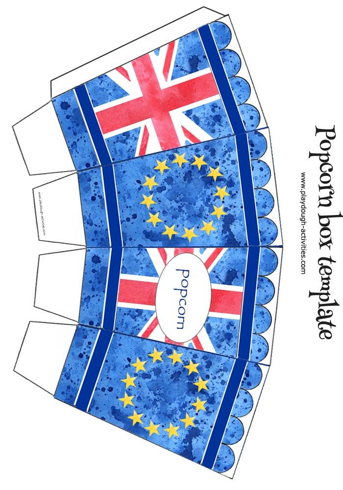 EU and UK popcorn box template - European Union and Union Jack flag
