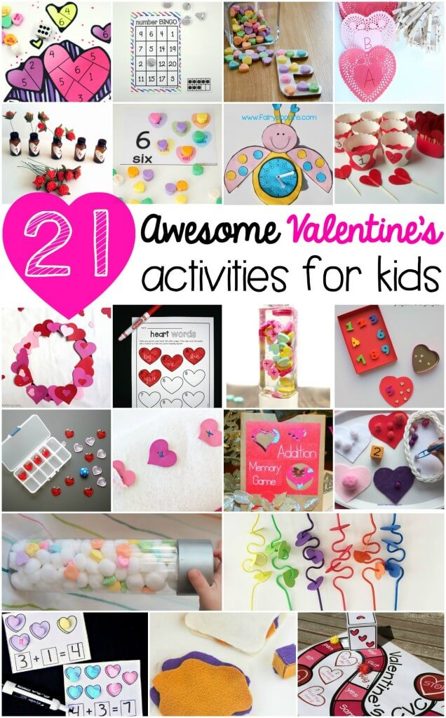 21 Awesome Valentine's Activities for Kids! Math games, ABC activities, sensory bottles... so many fun ideas in one spot!