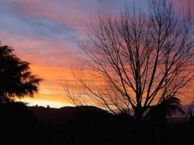 Le coucher de soleil depuis le jardin
