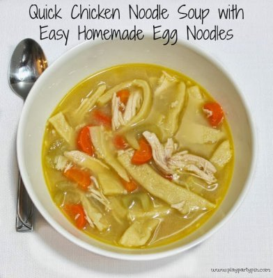 Easy chicken soup with homemade egg noodles by playpartypin.com