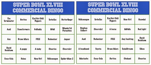 Super Bowl Commercial Bingo