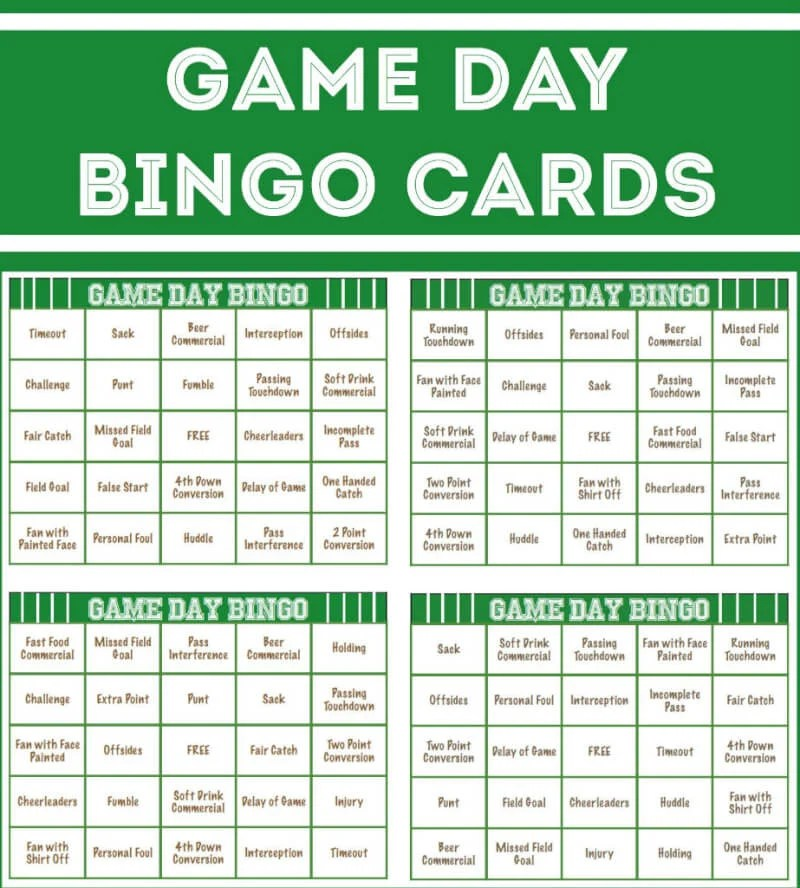 Free Printable Football Bingo Cards - Play Party Plan