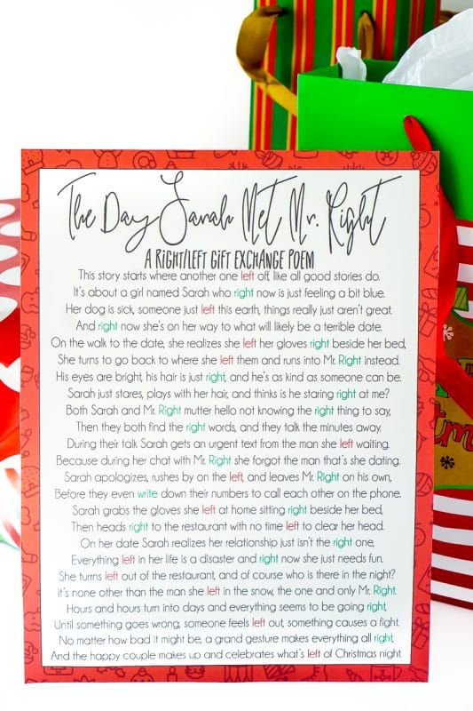 A Hilarious Left Right Christmas Poem  Gift Game - Play Party Plan