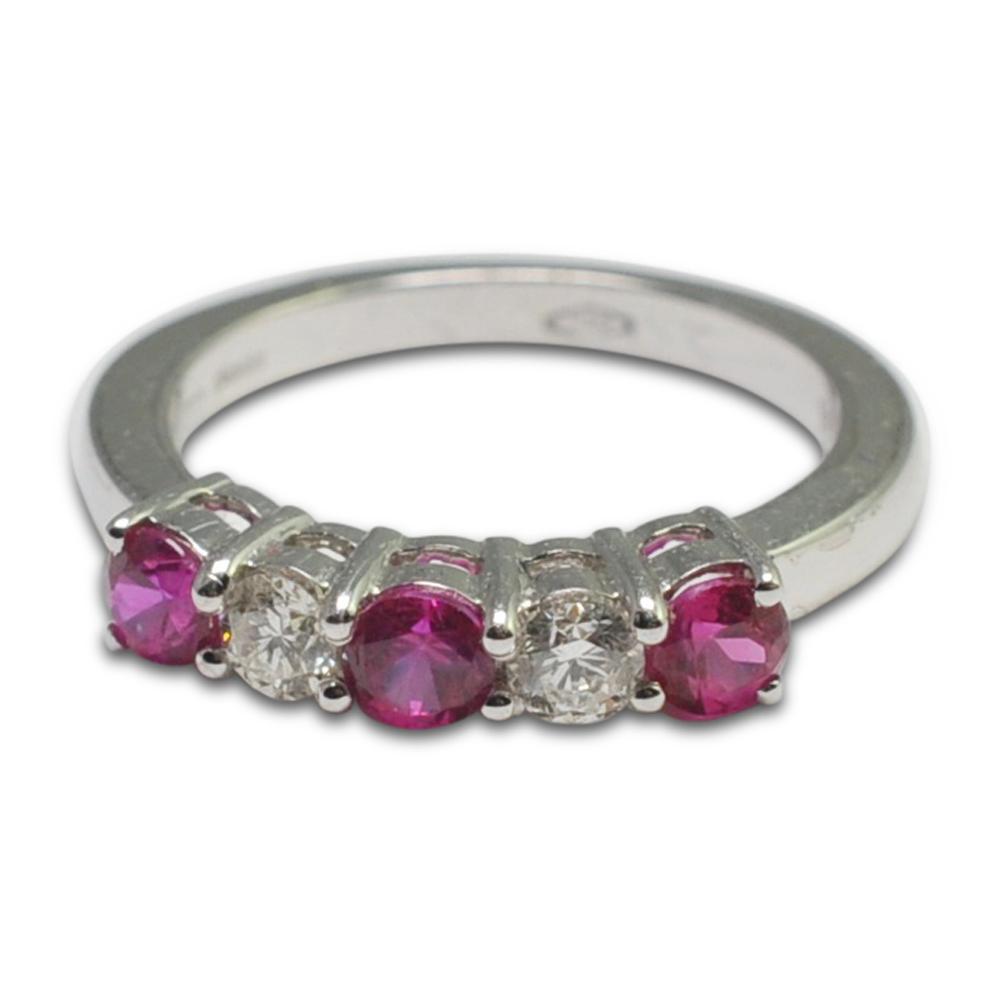 Ruby Diamond Gold Half Eternity 5 Stone Ring