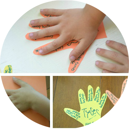 Give a friendship High Five! Handwriting practice and an act of kindness