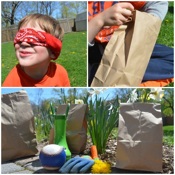 Focus on Touch: guess bag with spring theme for kids to explore the textures of spring