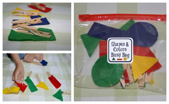 Shapes and Colors Busy Bag: games for toddlers and preschoolers