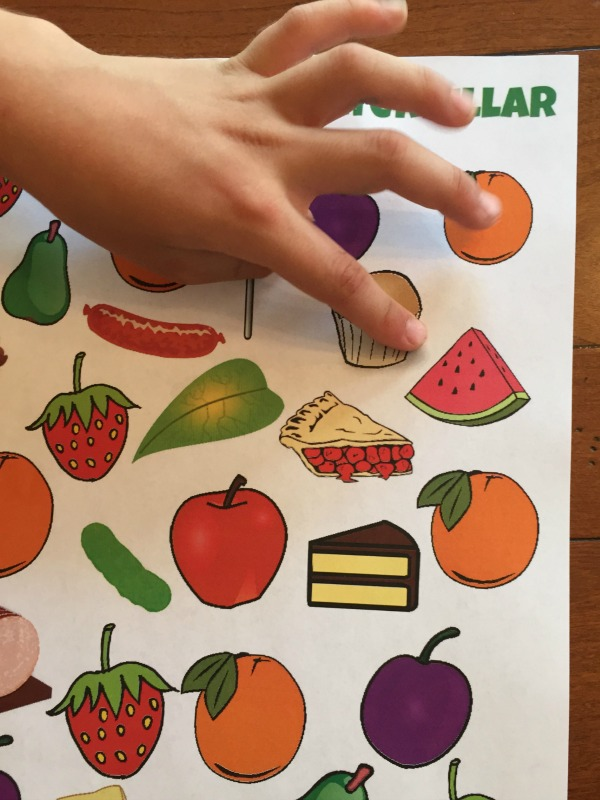 Free printable I Spy Game! Play with The Very Hungry Caterpillar