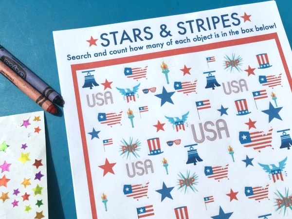 Free printable I Spy game for 4th of July or Memorial Day!