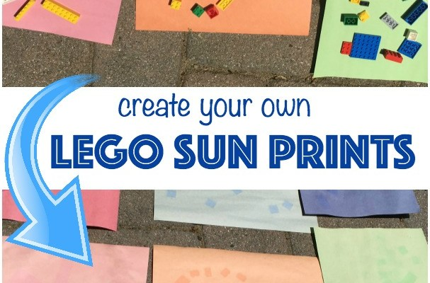 LEGO summer fun idea! Create sun prints using your favorite LEGO bricks! Easy summer craft for kids!