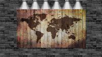 XXL Weltkarte eingebrannt in Holz 160cmx105cm auf Leinwand
