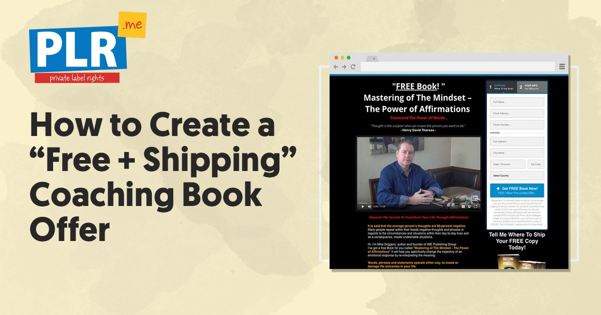 How To Create A Free + Shipping Coaching Book Offer