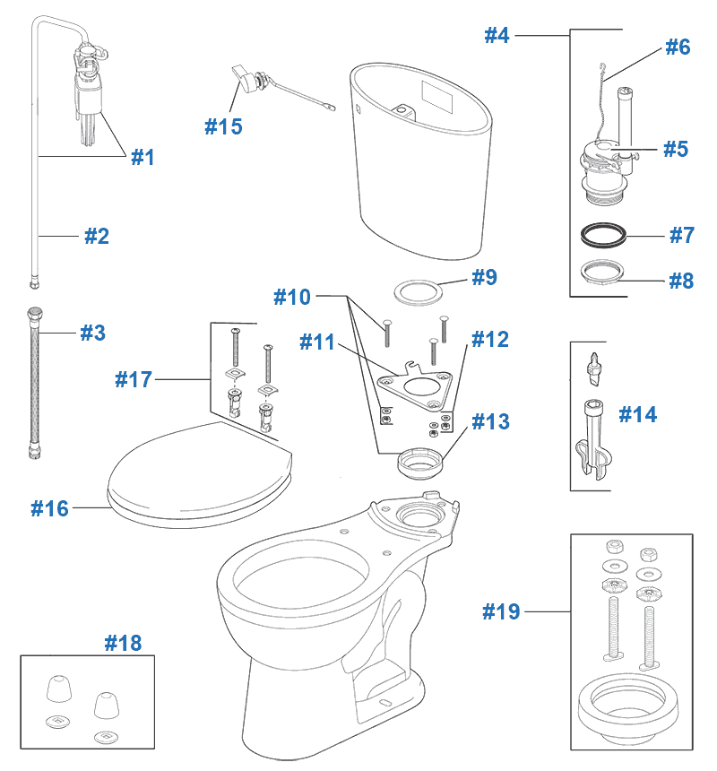 parts diagram for the line toilets