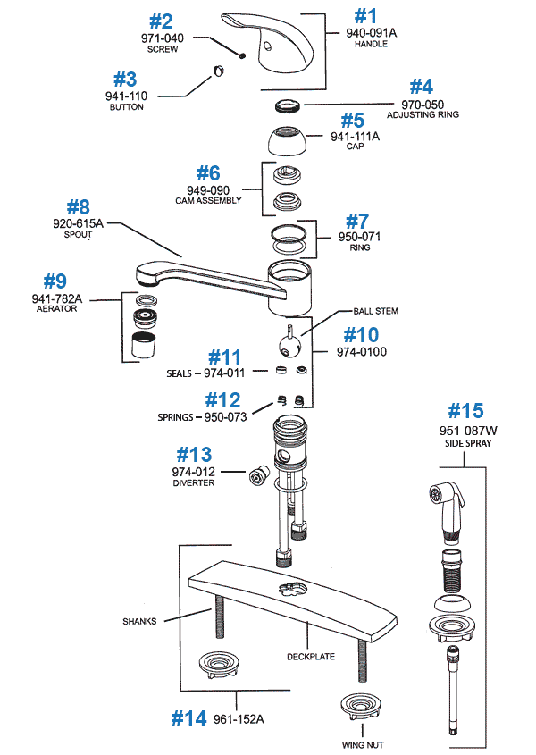 Price pfister kitchen faucet parts pfirst series