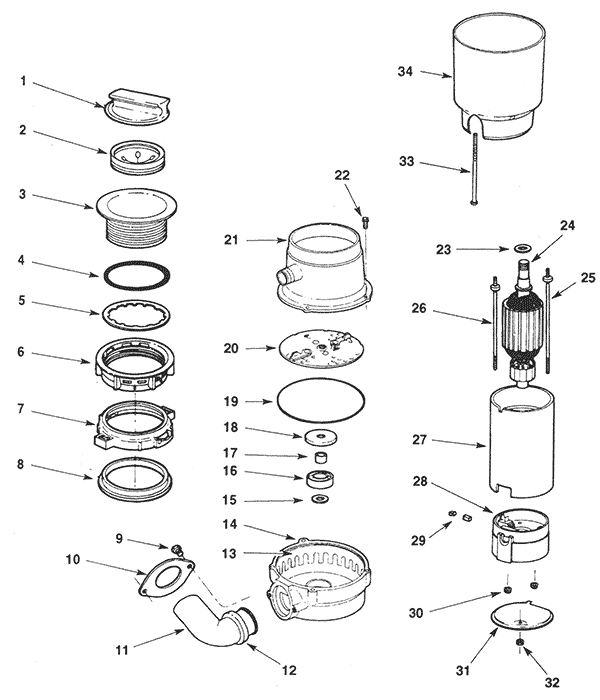 garbage disposal schematic wiring