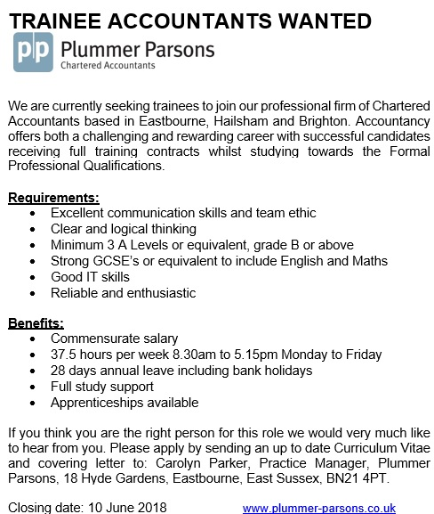 Job Advertisement - Trainee Accountants wanted - trainee accountant cover letter
