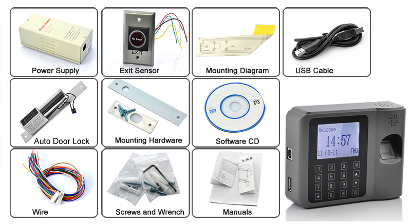 Biometric Time Attendance and Access Machine with Auto Door Lock and