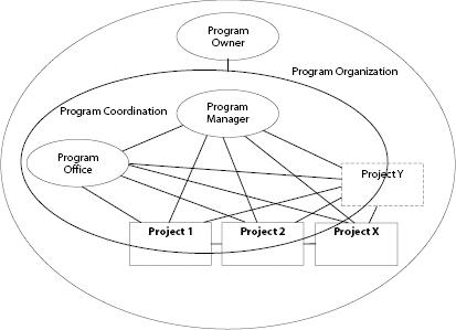 Program management and project portfolio management - project organization chart