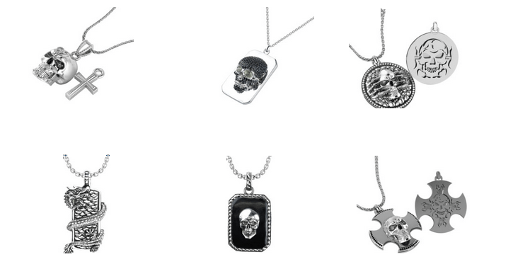 Unique and stylish Sterling Silver men's skull pendants by Belinda Jewelz
