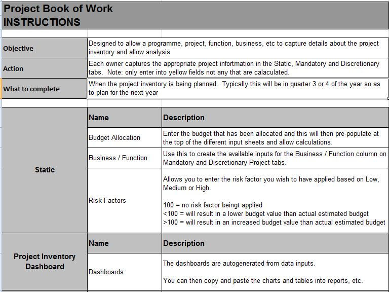 Project Book of Work Template Download - PM Majik - work templates