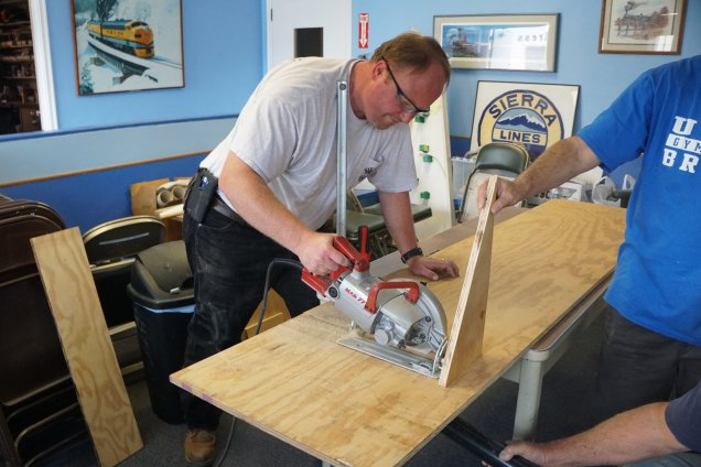 Brian cuts wood for our DCC pods