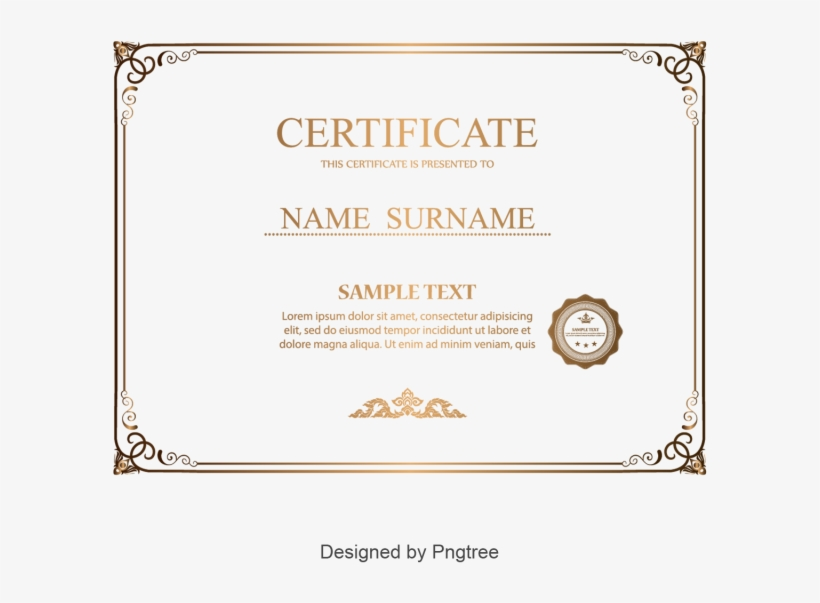 Simple And Generous Gold Certificate Border, Certificate - Palayan