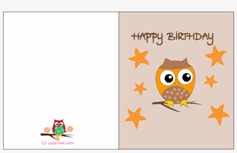 Happy Birthday Printable Free Owl Birthday Cards - Free Transparent