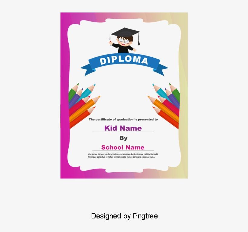 Kindergarten Graduation Certificate, Certificate, Colored - Diploma