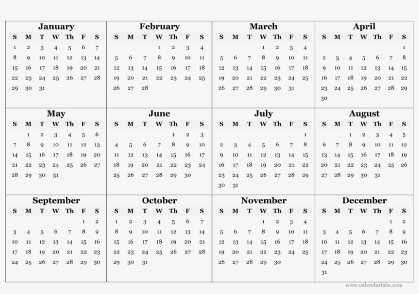 Printable Yearly Calendar 2019 - Free Transparent PNG Download - PNGkey