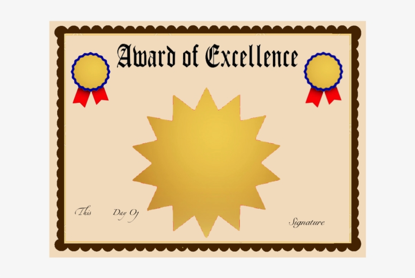 Award Of Excellence Certificate Template - Multi Point Black Star