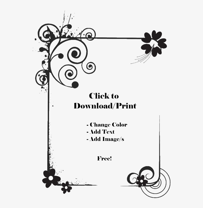 Printable Flower Border Png - Floral Border Design Black And White