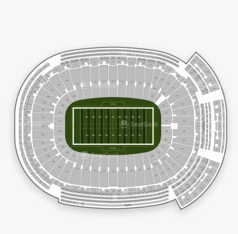 Green Bay Packers Seating Chart - Lambeau Field - Free Transparent