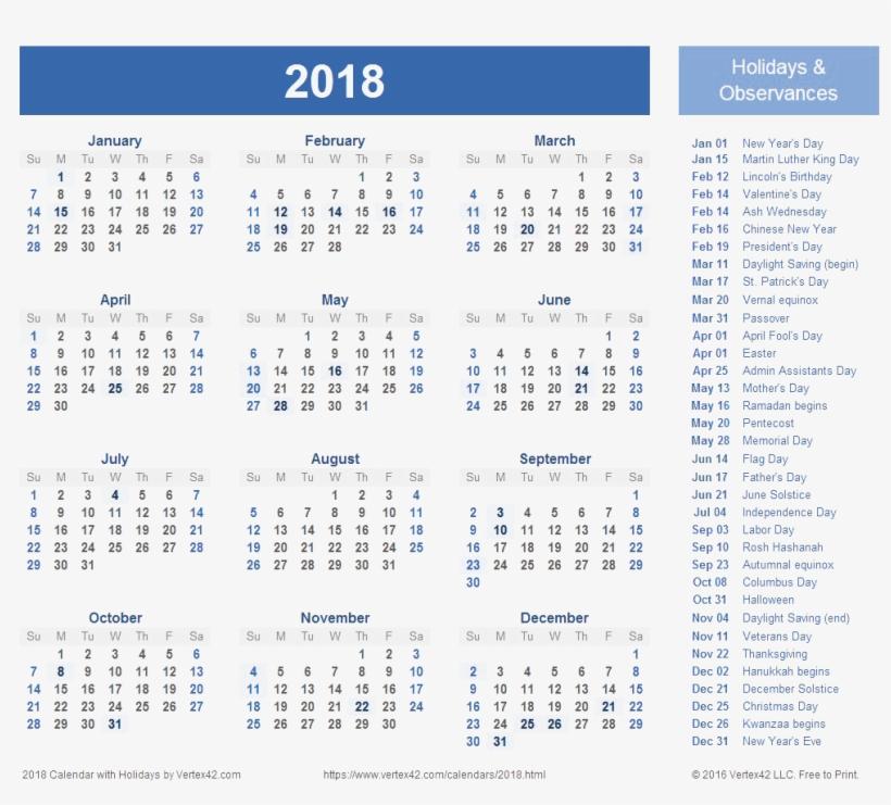2018 Calendar Transparent Background - 2018 Calendar With Holidays