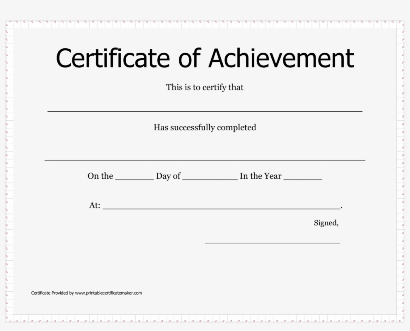 Large Size Of Certificate Of Achievement Free Template - Certificate