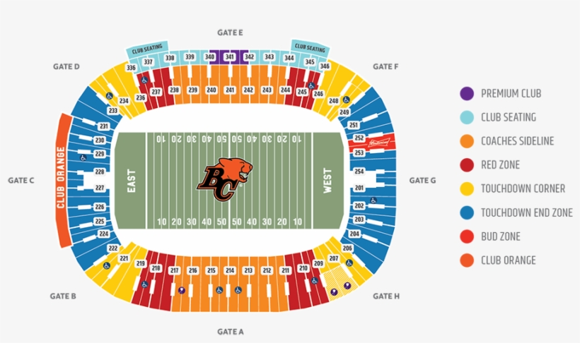 Seating Chart - Bc Place Seating Chart Bc Lions - Free Transparent