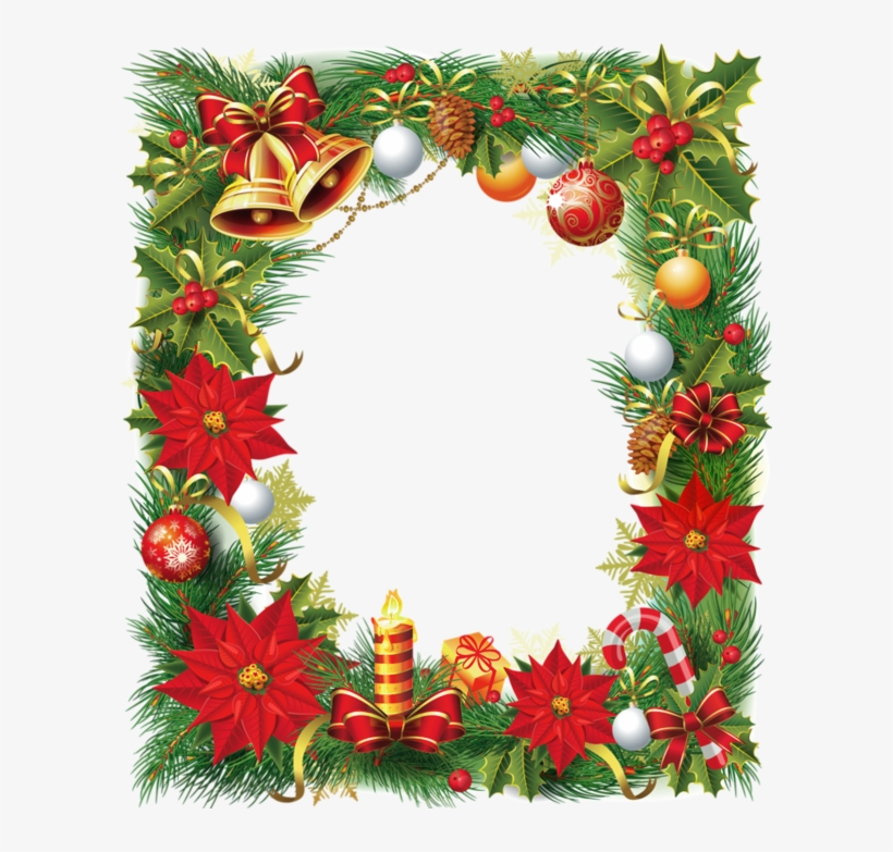 Transparent Christmas Photo Frame With Poinsettia - Transparent