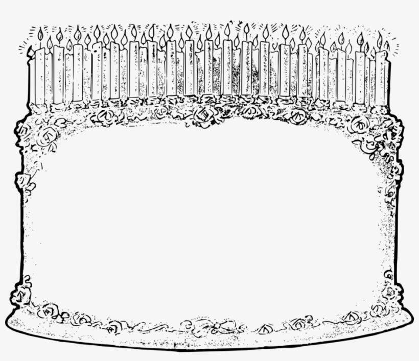 Line Art Christmas Day Birthday Candle Black And White - Birthday