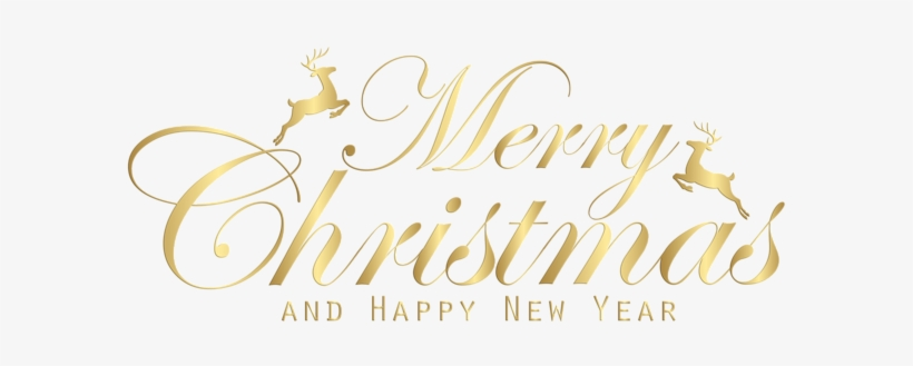 0, - Gold Merry Christmas And Happy New Year Png - 600x254 PNG