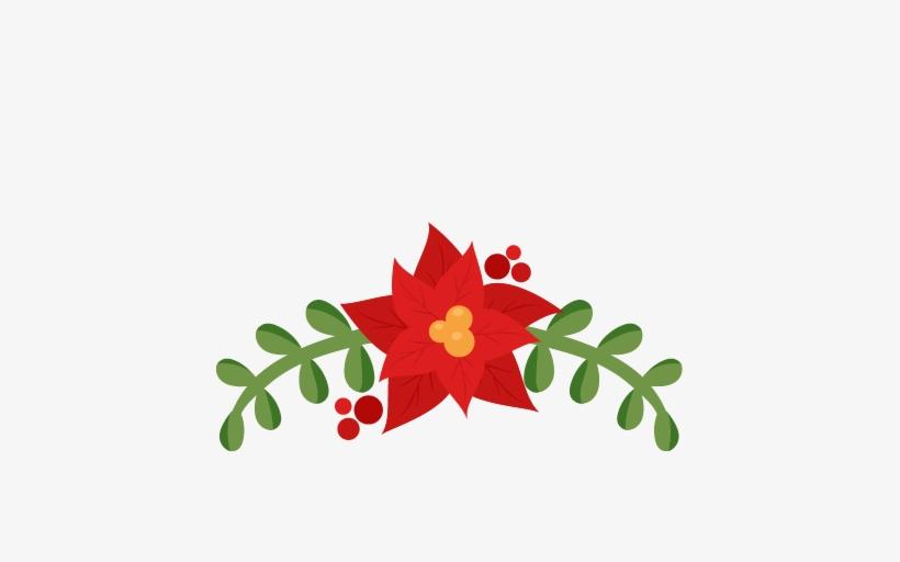 Poinsettia Border Png Download - Flourish Christmas Silhouette Free