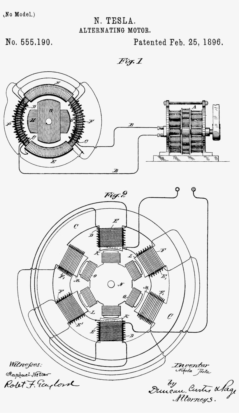 tesla s induction motor diagram