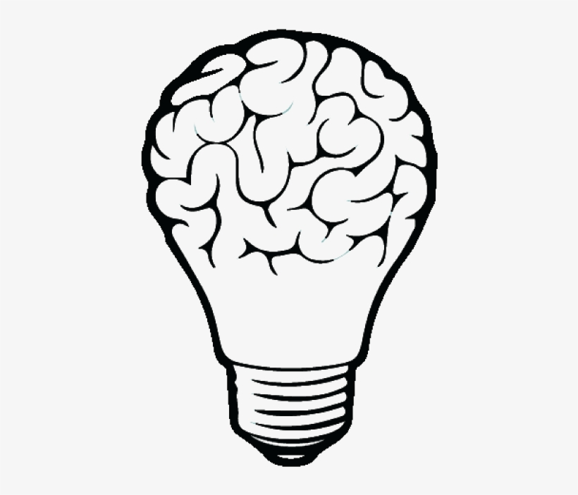 Incandescent Light Bulb Drawing Brain - Brain Vector - 666x644 PNG