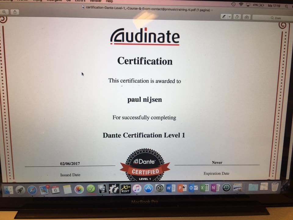 Vandaag zelf cursus dante gedaan ,level 1 is binnen \u2026?? \u2013 PN Music