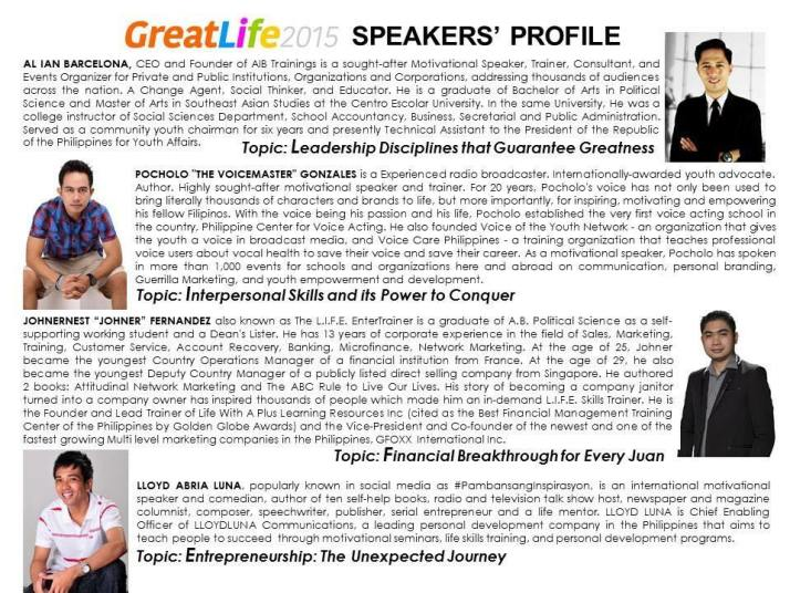 Great Life 2015 Speakers