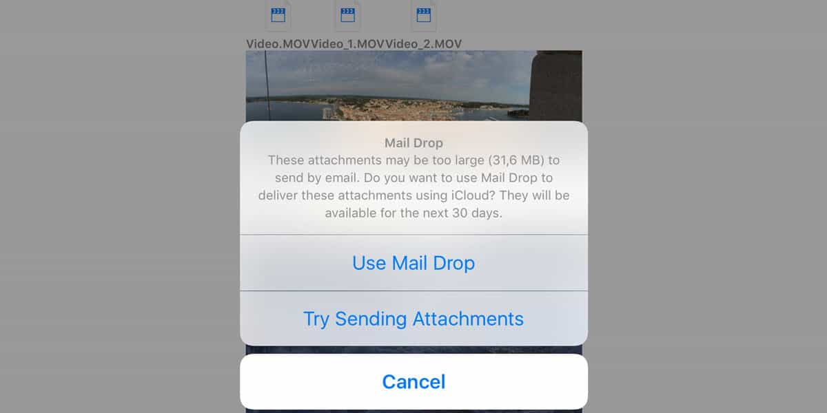 How To Send large files via email using Mail Drop on iOS