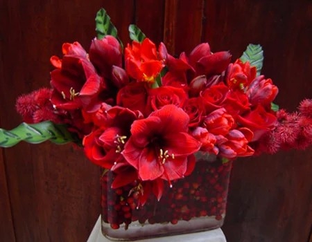 Ruby Red Flower Arrangement