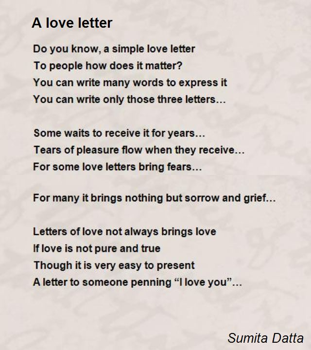 A Love Letter Poem by Sumita Datta - Poem Hunter Comments Page 1