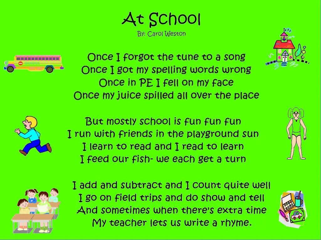 Kids Rhyming Poems