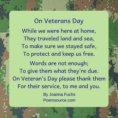 Veterans Day Poems Respect and Admiration For Our Heroes