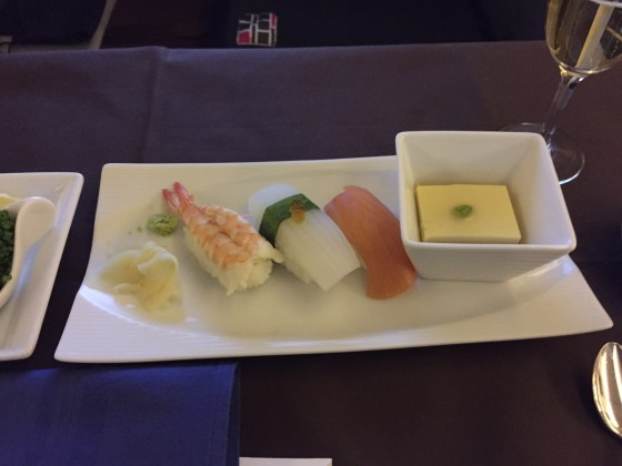 japan airlines jal first class f sushi