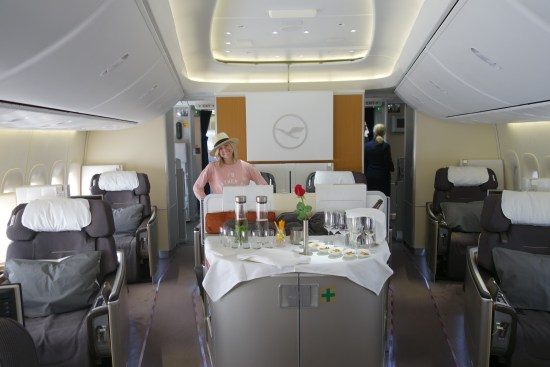 lufthansa first class lh ord fra champagne seat bed food business class